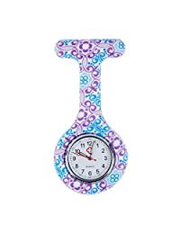 Charming High Quality Brooch / Fob Watch For Health Care Workers, Nurses And Doctors In White Silicone Hygienic Protection Cover For Infections Control With Blue And Purple Floral Swirls Patterns / Designs By VAGA