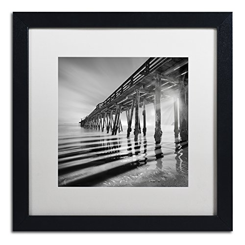 - Pier and Shadows by Moises Levy in White Matte and Black Framed Artwork, 16 by 16
