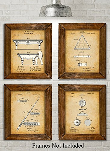 Original Pool Billiards Patent Art Prints - Set of Four Photos (8x10) Unframed - Great Gift for Pool Players, Game Rooms or Man Caves