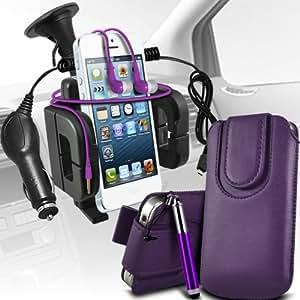 Samsung Galaxy Young S6310 premium protección PU botón magnético ficha de extracción Slip espinal en bolsa de la cubierta de piel de bolsillo rápido con lápiz óptico retráctil, Jack de 3,5 mm auriculares auriculares auriculares, cargador de coche USB Micro 12v y soporte universal de la succión del parabrisas del coche Vent Cuna Dark Purple por Spyrox