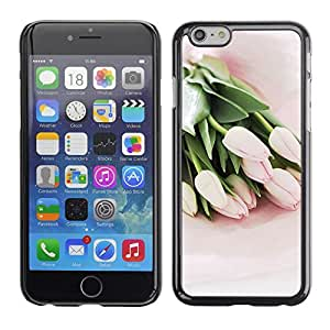 Planetar® ( Tulips Watercolor Green Flowers Pink ) Apple (5.5 inches!!!) iPhone 6+ Plus / 6S+ Plus Fundas Cover Cubre Hard Case Cover