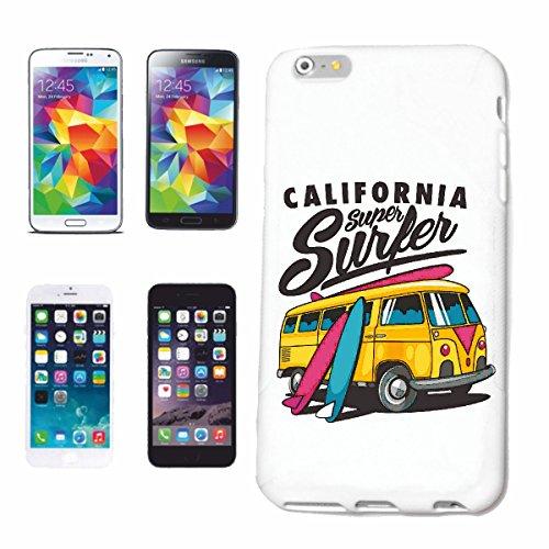 """cas de téléphone iPhone 6+ Plus """"CALIFORNIA SUPER SURFER SURFING BEACH SURFBOARDS WAVES LONGBOARD DE SURF Beginner Shop"""" Hard Case Cover Téléphone Covers Smart Cover pour Apple iPhone en blanc"""