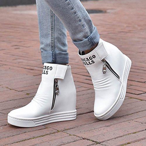 YE Damen Keilabsatz Ankle Boots Plateau Stiefeletten mit Erhöhung und Reißverschluss Bequem Freizeit Schuhe Weiß