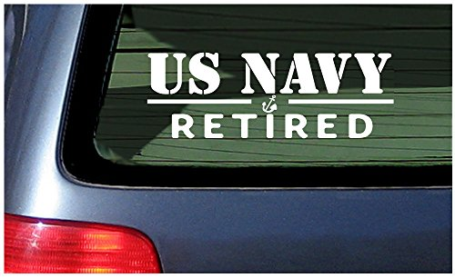 Navy Retired Decal - US Navy Retired - White Vinyl Window Sticker Decal USA United States