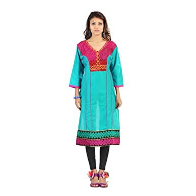 Elijaah Women S Cotton Kurtis Large Multi Coloured At Amazon Women S