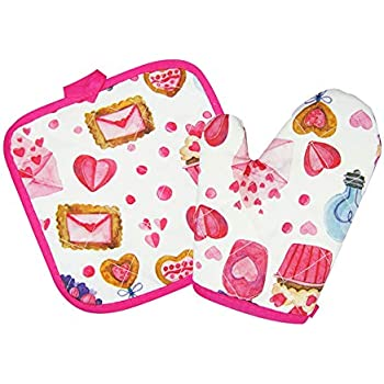 VMNlooking Cupcake Print Pot Holders and Oven Mitts/Glove for Kids
