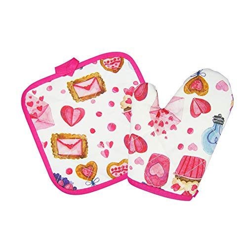 Nlooking Cupcake Print Pot Holders and Oven Mitts/Glove for Kids