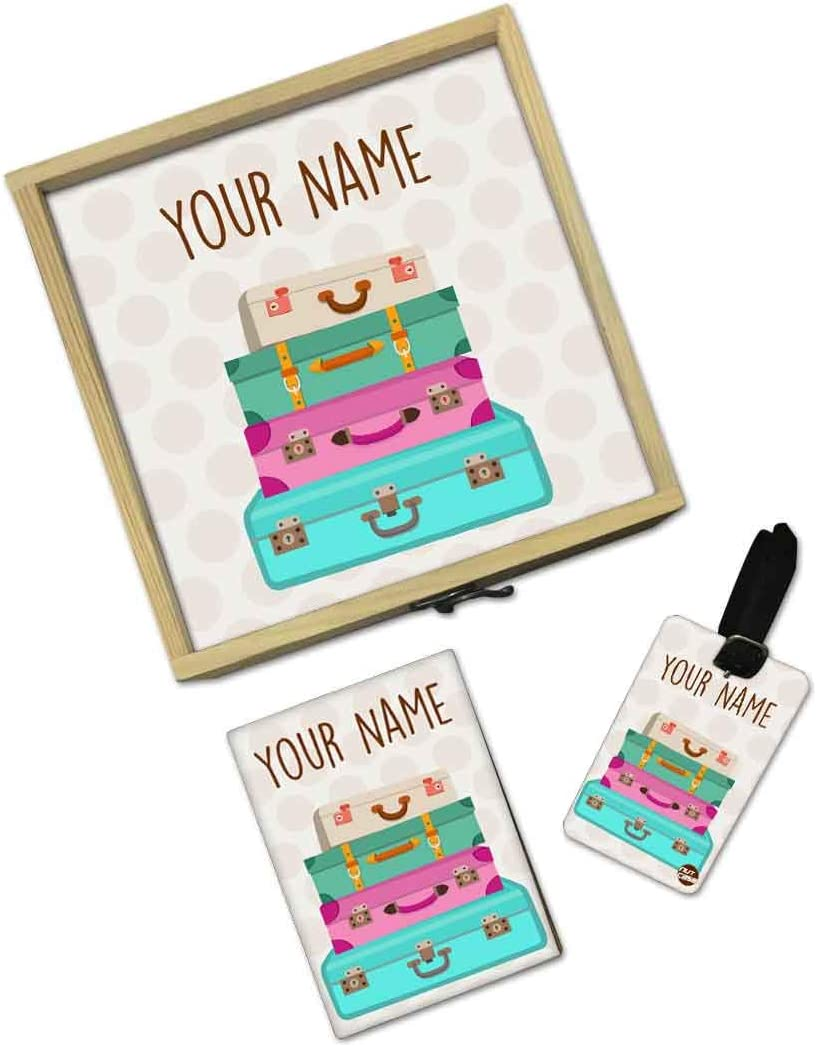 Planes Nutcase Personalized Passport Holder Cover Gift Set With Matching Luggage Tag And Wooden Box Gifts Set