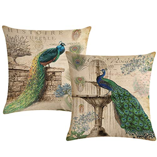- ULOVE LOVE YOURSELF 2Pack Peacock Throw Pillow Covers Only Decorative Square Pillowcases Cotton Linen Cushion Cover 18 X 18 Inch (Peacock)