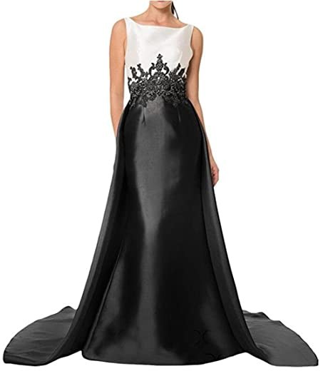 BanZhang Womens Mermaid Long Evening Dresses With Train Formal Gown Plus Size B367 Black 2