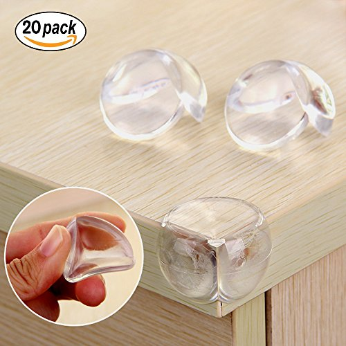 Ball Ball Shaped Clear Corner Protectors ,Pack of 20,. With Extra Good Glue That Sticks , Providing Baby Proofing Corner Guards (Shaped Glue)
