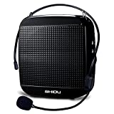 Portable Voice Amplifier with Wired Headset Microphone,18W Personal Loudspeaker Clear Sound With 1200mAH Rechargeable Battery Support U Disk/TF for Teaching,Singing,Tour,Speech and More (512-Black)
