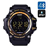 TKSTAR Smart Watch Swimming Diving Pedometer Sports Activities Tracker Wristwatch for Men Women Elderly Support Call and SMS Alert (Gold)