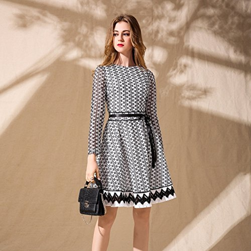 Waist White for Long Casual with Maxi Sleeve cotyledon Dresses Dress Women Scoop Neck Belt High A line FqvaUyBw1f