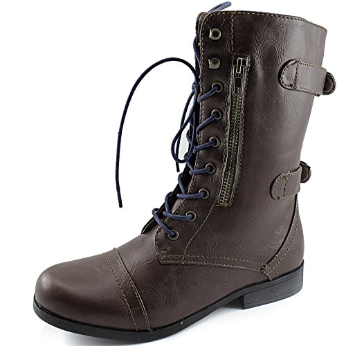 Dailyshoes Womens Military Combat Bootie Lace Up Ankle Zipper Back Strap Boots Brown Boots, Navy Laces