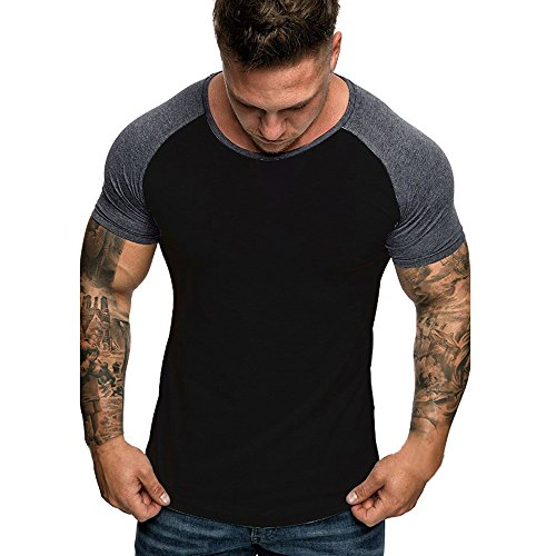 Men's Gym Muscle Fitness Simple Short Sleeve,MmNote Cotton Elastic Antibacterial Premium Fitted Cool Quick Quick-Dry T-Shirt ...
