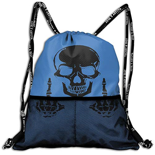 Drawstring Backpacks Fuck Skull Skeleton Leisure Bundle Backpack Beam Backpack Sport Gym Travelling -