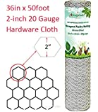2in Hexagonal Poultry Netting 36inchx50ft Galvanized Fence Wire 20gauge Large Holes Mesh Chicken Run Enclosure Rabbits Pen Pets Dog Cat out Vegetable Garden Backyard Raised Flower Bed Fencing Material