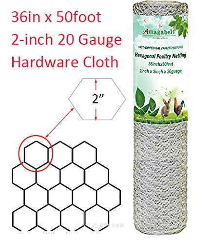 2in Hexagonal Poultry Netting 36inchx50ft Galvanized Fence W