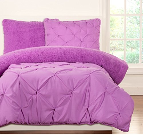 3 Piece Kids Teens Full Queen Light Purple Violet Pinched Pleat Comforter Set, Fancy Luxury Bedding, French Country Style, Modern Pattern for Master Bedrooms, Bright Purple,Plum by OS