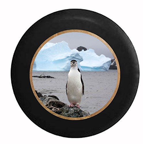 Full Color Single Penguin Posing on Rocks Iceberg Background Jeep RV Camper Spare Tire Cover Black 35 in