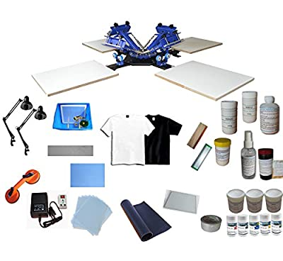 Screen Printing Equipment Kit:4color 4Station Screen Press Equipment+ 4Colors Printing Materials Kit(Item#219404)