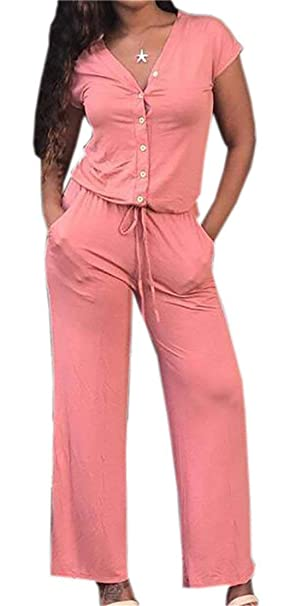 7096c2a279a SELX-Women Plus Size Short Sleeve V Neck Drawstring Jumpsuits with Pockets  Pink US XS