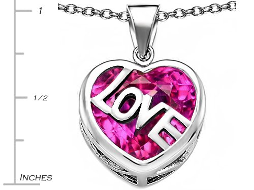 Star K Sterling Silver Large Love Heart Pendant Necklace with 15mm Heart Shape Stone