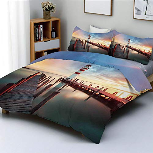 (Duplex Print Duvet Cover Set King Size,Sunset at Seaside with Wooden Docks Lighthouse Clouds Rainbow Waterfront Reflection Decorative 3 Piece Bedding Set with 2 Pillow Sham,Multi,Best Gift for Kids &)