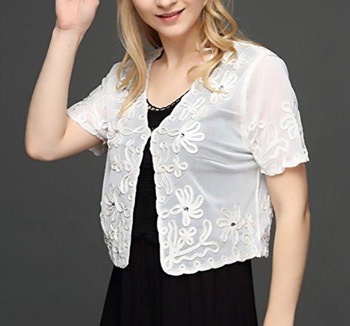 Elegante Donna Cardigan Manica da Pizzo Slim Partito Bolero Bianco Corta Lanceyy Unique Cerimonia Coprispalle Ricamo Trasparente Stola Chic 5EqWx4