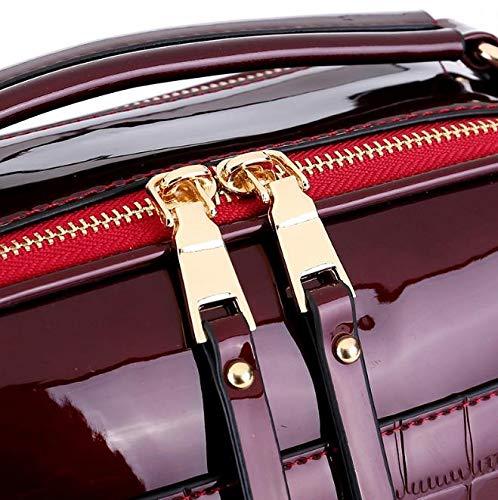 Wallet Makeup Lipstick Crossbody Casual X 13 Purple Mirror X Red Ladies 26 Patent Fashion Style 22 Mobile Wine Leather CM Bag Key Phone Handbag TqWx7vO