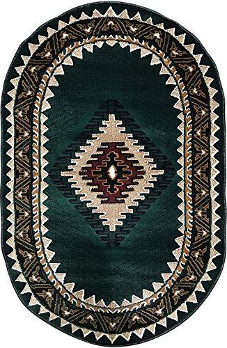 - Kingdom Southwest Native American Oval Area Rug Hunter Dark Green Design D143 (3 Feet X 4 Feet 7 Inch)
