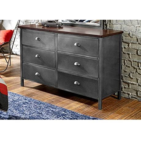 Hillsdale Furniture 1265 717R Urban Quarters 54 125 Dresser With 6 Drawers Antique Cherry Finished Top And Punched Hole Detailing In Black Steel