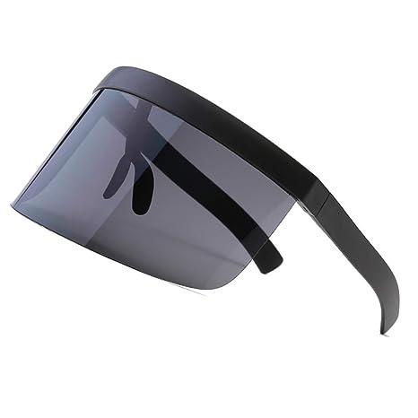 e2099108eea5f5 VORCOOL Oversize Lunettes de Soleil Futuristic Shield Visière Flat Top  Mirrored Unisexe Protection Coupe-Vent