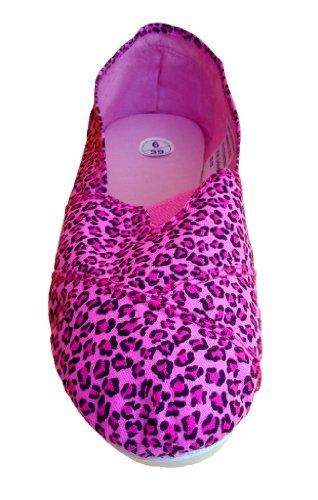 del el cosidos bombas de de con dedo pie rosa leopardo playa zapatos zapatos lona Alpargatas w0SqtXTt