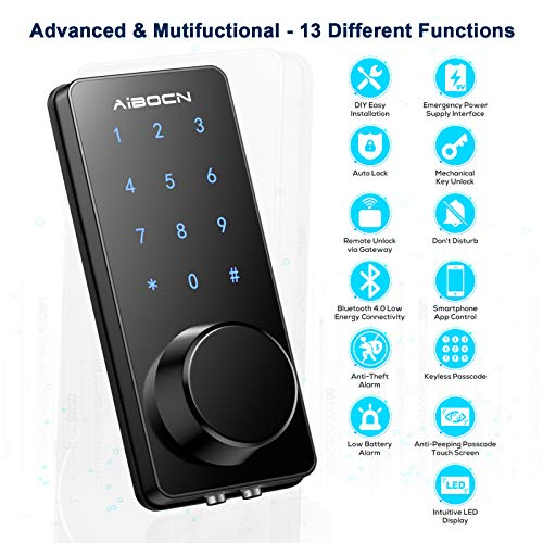 Aibocn Smart Lock, Keyless Entry Door Lock with Bluetooth, Electronic Keypad Deadbolt Lock, Smart Lock Front Door Works with APP Control, Voice, eKey and Code, Auto-Lock for Home Apartment Hotel