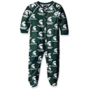 OuterStuff NCAA Michigan State Spartans Infant Boys Sleepwear All Over Print Zip Up Coveralls, 24 Months, Hunter