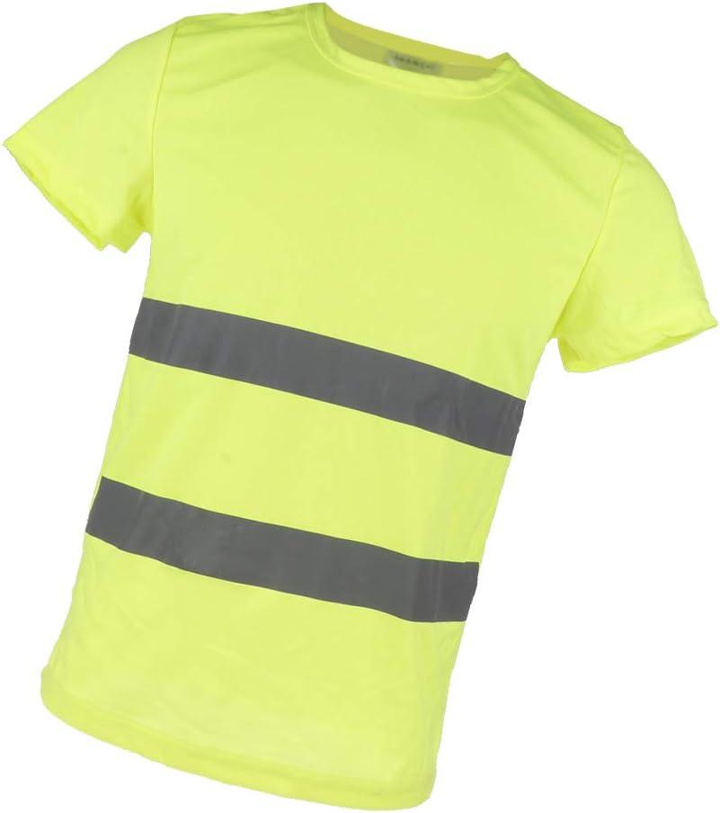 Camiseta Indicador de Seguridad con Manga Corta Accesorio de Motosierra Motores Jardines - Amarillo XXL