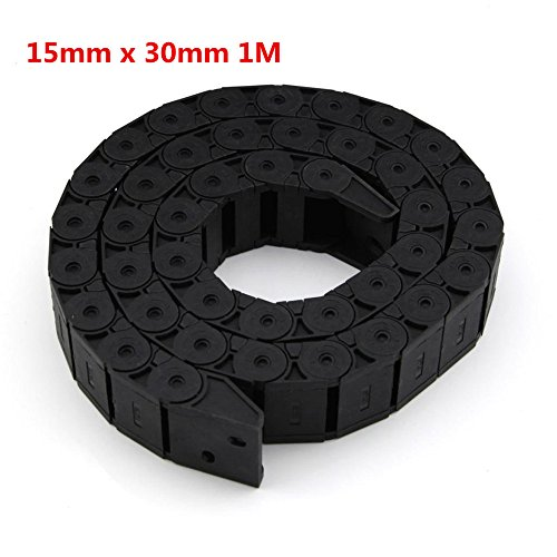 HHY 15mm x 30mm Plastic Open Type Towline Cable Carrier Drag Chain 1M Length