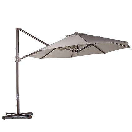 Abba Patio 11 Feet Aluminum Offset Cantilever Umbrella With Cross Base, Tan