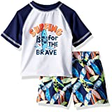 iXtreme Boys' Toddler Printed Rashguard Sets, Surf Navy, 4T
