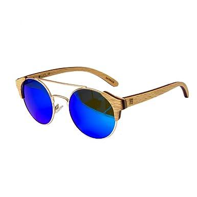 WOLA Damen Herren Sonnenbrille Holz AQUA Brille rund mit Metallbrücke polarisiert UV400 Zebraholz Unisex Damen M - Herren S RS9Ugid