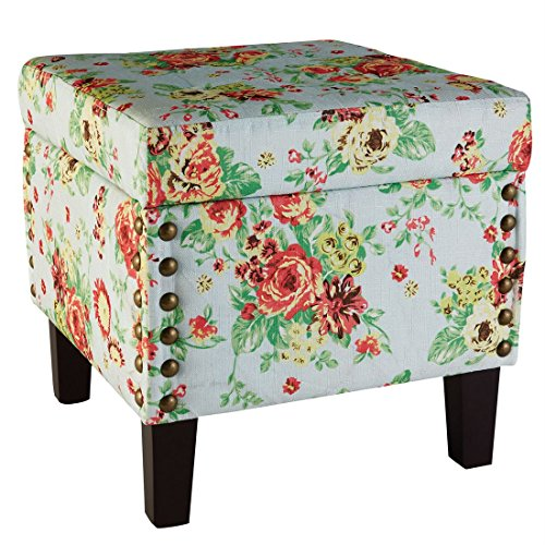 ufted Ottoman Storage Bench (Light Blue Floral,0) (Media Storage Ottoman)