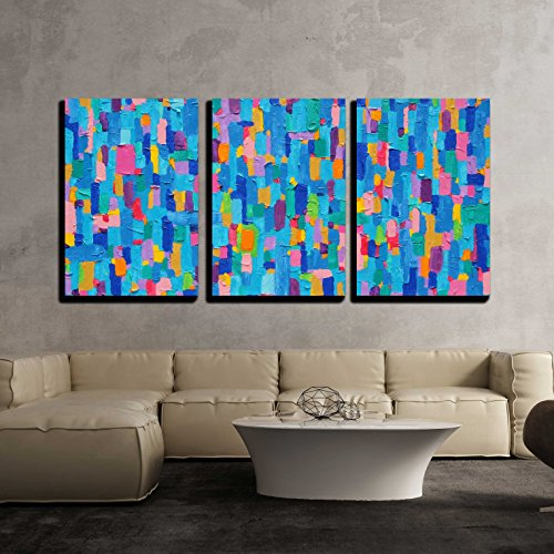 wall26-3 Piece Canvas Wall Art - Background and Colorful Image of an Original Abstract Painting on Canvas - Modern Home Decor Stretched and Framed Ready to Hang - 24''x36''x3 Panels by wall26