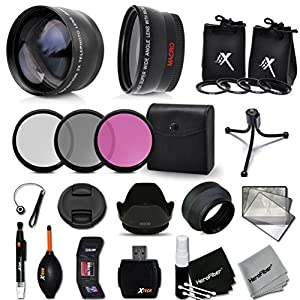 Essential 58mm Accessory Kit for CANON EOS 80D, 70D, EOS 60D 5D, EOS Rebel T5i, T4i, T3i, T2i, XTi, EOS 5D Mark III,1200D 1100D EOS T5, T3, 700D 650D 600D 550D EOS M DSLR Cameras - Includes: 58mm High Definition Wide Angle Lens with Macro Closeup feature,