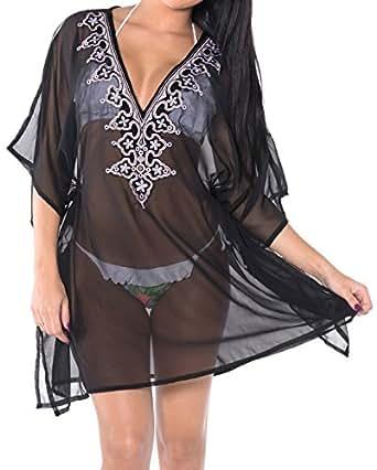 La Leela Chiffon Solid Swimsuit Cover up OSFM 10-16 [M-1X] Black_583
