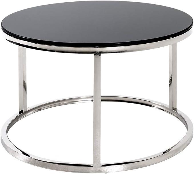 H Haku M/öbel Set di 2 Tavoli 40//50 x 30//40 cm Cromo Bianco