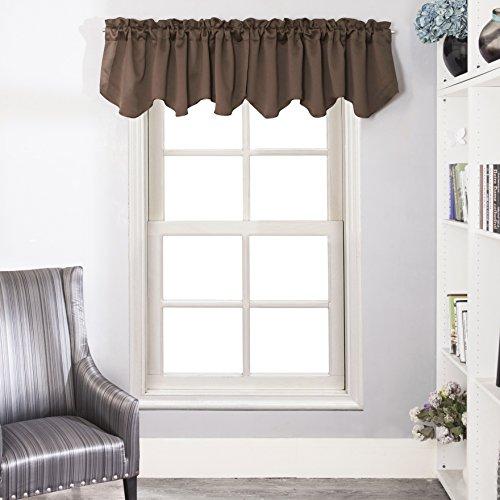 Velvet Window Valance - Aquazolax Blackout Window Treatments Valance, Rod Pocket Top Scalloped Curtain Valance for Kitchen, 52