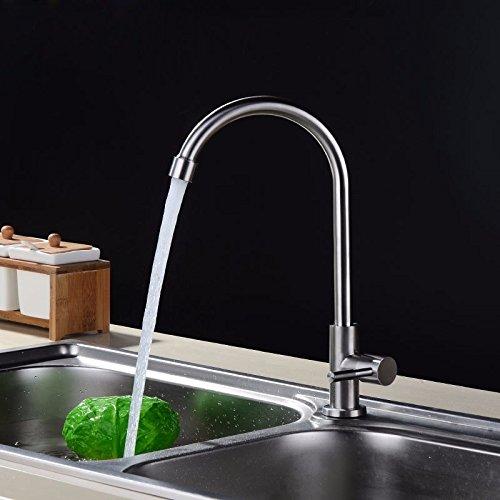 T-TSLT Edelstahl-Kaltwasserhahn, Spültischarmatur, Spültischarmatur, gebürstet 4 Wasserhahn