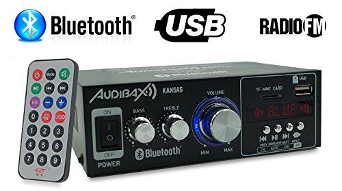 Audibax KANSAS Amplificador HiFi con Bluetooth / MP3 / FM 2 x 40W: Amazon.es: Electrónica